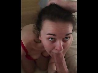 Submissive Slut Facefucked And Swallows. Nearly Caught By Landlord