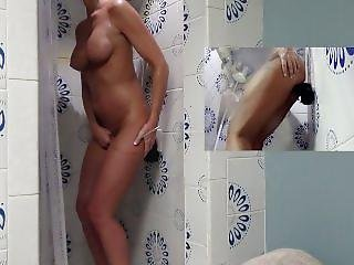 Hot Wife Has Hot Shower Riding Thick Black Dildo To Orgasm