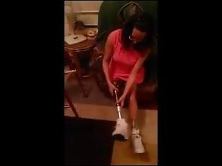 Sexy Double Amputee Unscrewing Legs