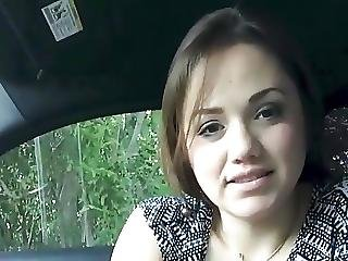 Cute Girl Eating In Car At Youramateur