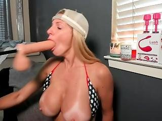Rough Dildo Machine Fucking In My Mouth - Deepthroat Blowjob