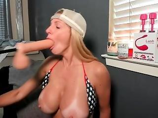 Rough Dildo Machine Fucking In My Mouth - Deepthroat Blowjob