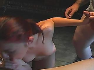 Sexy Redhead Amateur Jerks And Sucks Two Cocks