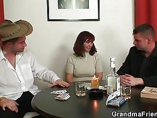 Dick, Granny, Mature, Milf, Poker, Threesome, Young