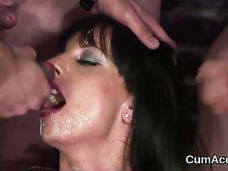 Stunning Centerfold Blows Penis Before Several Cumshots Getting Her Face Sprayed With Sticky Spunk