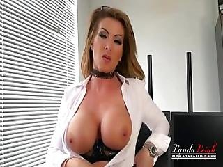 British Office Milf Lynda Leigh Tights Strip Tease To Show Pussy
