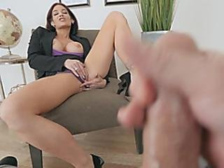 Big Tits Milf Ryder Skye Fingers Pussy While Looking At Guys Boner