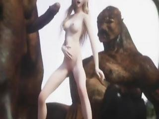 Small Young Elven Princess Got Ruined By The Giant Dicks Of Orc Warriors In A Steamy Gangbang!