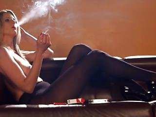 Rebecca Leah Chain Smoking Strong Marlboro Reds Topless In Pantyhose