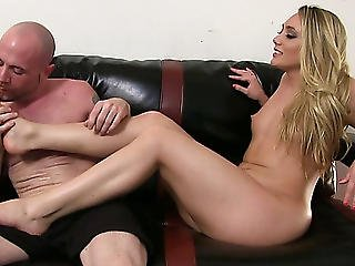 Naughty Blondie Aj Applegate Menacing Makes Her Thrall Take Up With The Tongue Her Feet