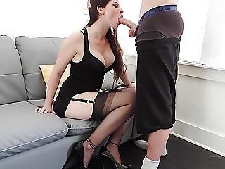 Pipe, Brunette, éjaculation, Sale, Stocker