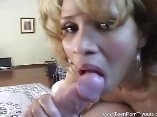 Spanish Mamacita Interracial Blowjob