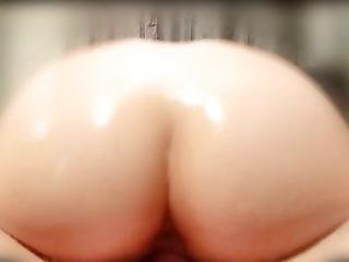 Oiled Asian Ass Bouncing On Thick Cock.