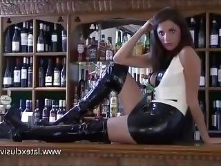 Brunette Slut Milf In Leather Miniskirt Sensual Upskirt Photoshoot In A Bar