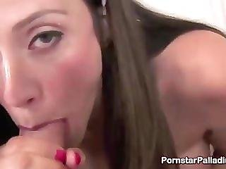 Brunette Gets A Mouthful Of A Huge Cock