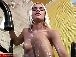 Shemale Slut Wanks Her Big Shecock In Creamy Milk And Cums