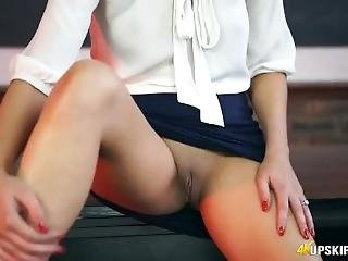 Sexy British Teacher Opens Her Legs And Flashes Her Cunt