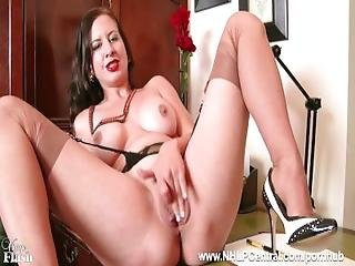 Busty Brunette Tindra Frost Masturbates In Her Vintage Black Seam Nylons