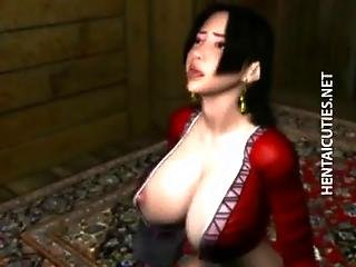 Chesty brunette 3D hentai slut sucks dick