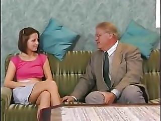 Shy Teen Have Fun With Grandpa