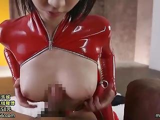 Japanese Babe Playing In Full Latex Clothing