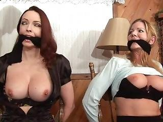 Two Girls Tricked Into Chair Tied And Gagged