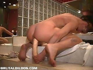 French Canadian Amateur Rides Brutal Dildo Like A Horse