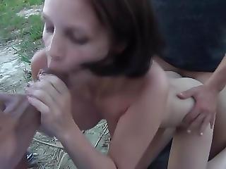 Brunette Gets A Dp Outdoors