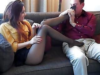 noha, footjob, nylon, kalhotky, punčocháče