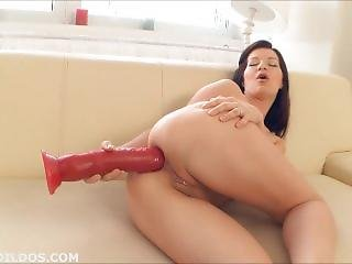 Hot Brunette Fucking Her Tight Asshole With A Huge Red Brutal Dildo In Hd