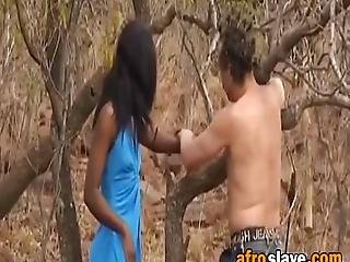 African Slave Is More Than Ready To Get Abused By A Horny Master She Enjoys Getting Her Nipples Clipped Outdoors Making Her Pussy Wet