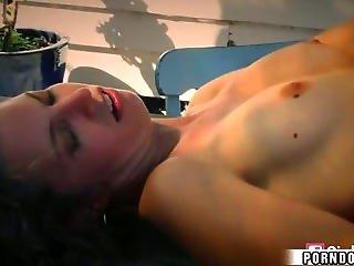 Hot Blonde Girl  Rides Cock In Backyard