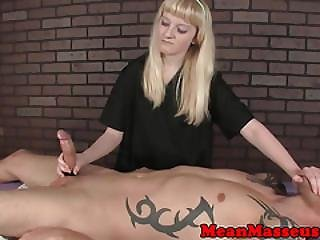 Dominating Masseuse Babe Wanks Client