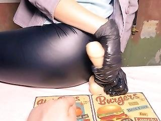 French Designer Joi - Jerking Off In A Cafe - Big Booty In Latex Tights 4k