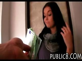 Black haired Czech babe stuffed with stranger in apartment for cash