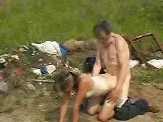 Sexy Girl Smiles While Homeless Old Geezer Fucking Her Wet Snatch