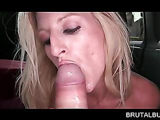 Slim Blonde Fellating Massive Cock In Sex Bus