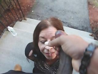 Granny Sucks Black Cock On Front Door Steps