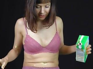 Super Cute Brunette Naked Teen Gets Totally Showered In Yellow Custard