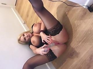 Busty Blonde Squirts Out A Big Toy When She Cums Hard