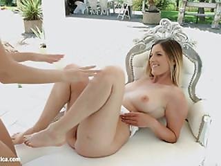 Monique And Mira Sunset In Outdoor Chilling - Lesbian Scene