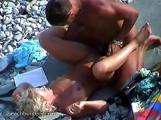 Curly Blonde Reamed And Voyeured Seaside