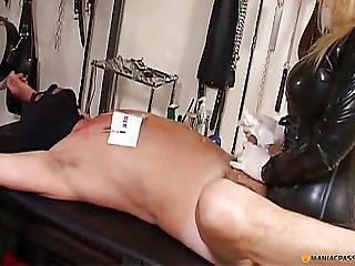 Blonde Chained Man Crumples Member