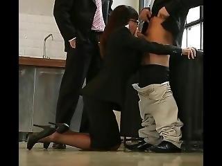 Clothed Secretary Sucking Cock