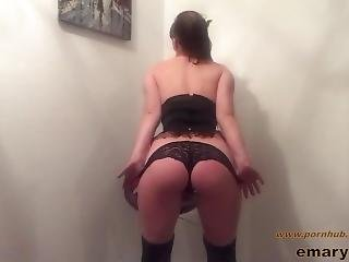 Wearing Corset, Lace Stockings, And Black Lingerie - Masturbation And Play