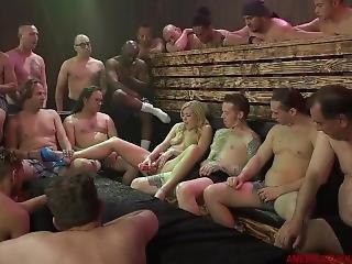 Bukkake With 18 Guys Facial Cute American Blonde