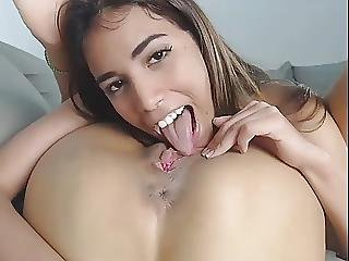 Hot Slim Latin Teen Devouring Friends Pussy