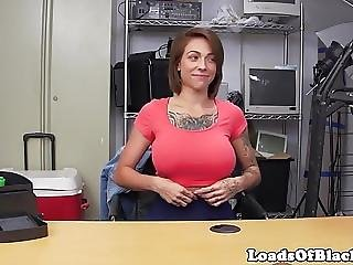 Busty Inked Babe Doggystyled At Sexaudition