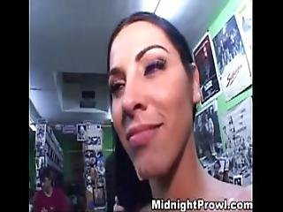 Busty Brunette Gets Fucked In Sex Shop