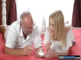 Strip Poker With Grandpa And Teen Blonde Leads To Sex